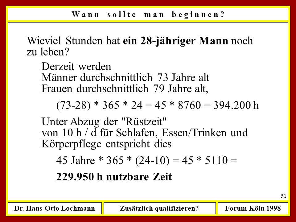 Dr. Hans-Otto LochmannZusätzlich qualifizieren?Forum Köln 1998 50 W a n n s o l l t e m a n b e g i n n e n ? Wann sollte man beginnen, sich zusätzlic