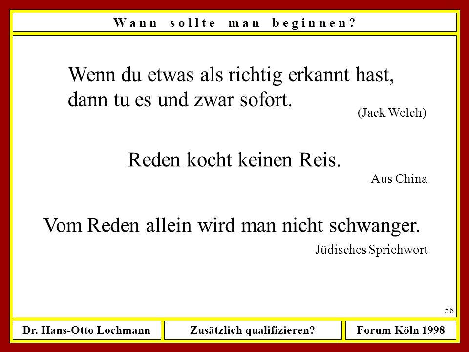 Dr. Hans-Otto LochmannZusätzlich qualifizieren?Forum Köln 1998 57 W a n n s o l l t e m a n b e g i n n e n ? Sofort!