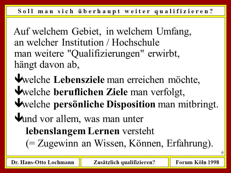 Dr. Hans-Otto LochmannZusätzlich qualifizieren?Forum Köln 1998 5 Ü b e r s i c h t ê Wenn ja, wie sollte man dabei vorgehen ? ê Zusammenfassung meiner