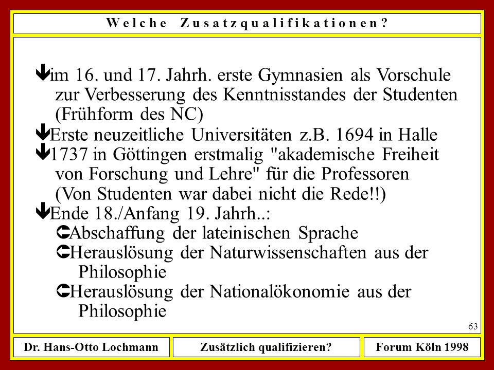 Dr. Hans-Otto LochmannZusätzlich qualifizieren?Forum Köln 1998 62 W e l c h e Z u s a t z q u a l i f i k a t i o n e n ? ê fr. Mittelalter: universit