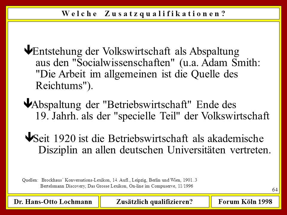 Dr. Hans-Otto LochmannZusätzlich qualifizieren?Forum Köln 1998 63 W e l c h e Z u s a t z q u a l i f i k a t i o n e n ? ê im 16. und 17. Jahrh. erst