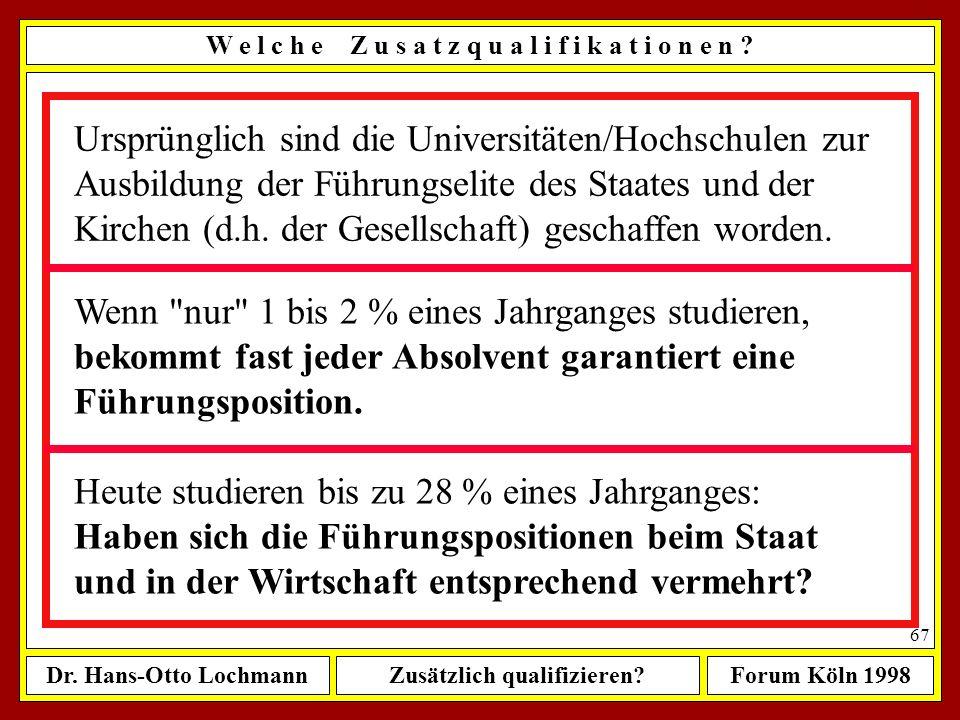 Dr. Hans-Otto LochmannZusätzlich qualifizieren?Forum Köln 1998 66 W e l c h e Z u s a t z q u a l i f i k a t i o n e n ? Heute: Zahl der Studenten an