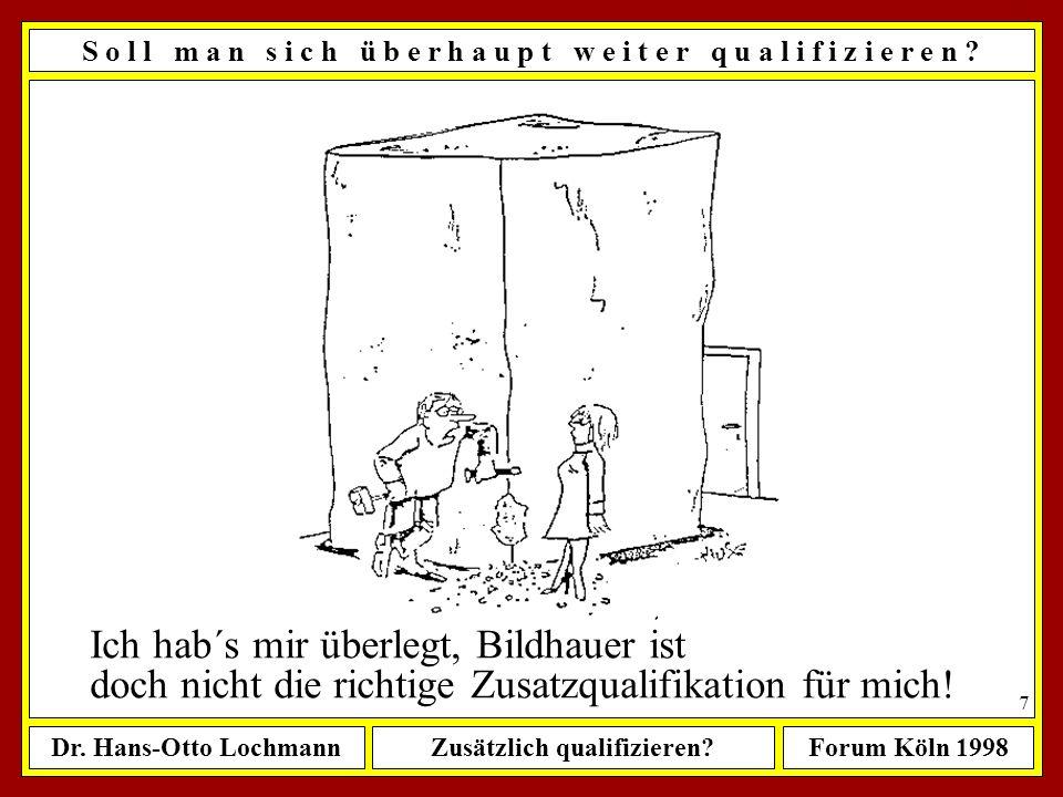 Dr. Hans-Otto LochmannZusätzlich qualifizieren?Forum Köln 1998 6 S o l l m a n s i c h ü b e r h a u p t w e i t e r q u a l i f i z i e r e n ? in we