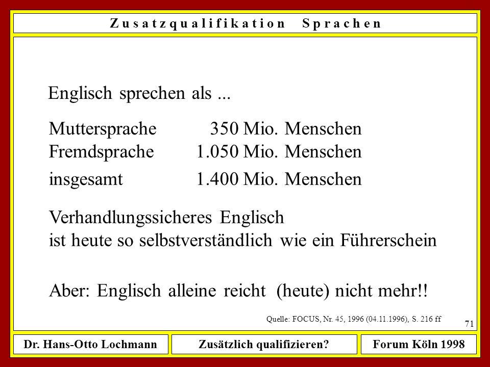 Dr. Hans-Otto LochmannZusätzlich qualifizieren?Forum Köln 1998 70 Z u s a t z q u a l i f i k a t i o n S p r a c h e n Die (bequeme) Ausrede vom Expo