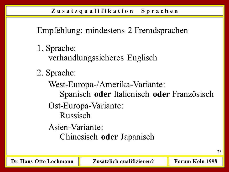 Dr. Hans-Otto LochmannZusätzlich qualifizieren?Forum Köln 1998 72 Quelle: FOCUS, Nr. 45, 1996 (04.11.1996), S. 216 ff Z u s a t z q u a l i f i k a t