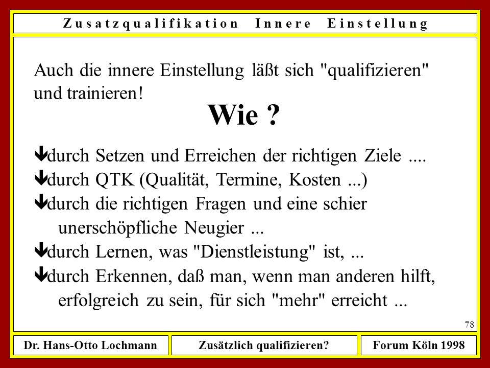 Dr. Hans-Otto LochmannZusätzlich qualifizieren?Forum Köln 1998 77 Z u s a t z q u a l i f i k a t i o n V e r h a l t e n s w i s s e n, -t r a i n i