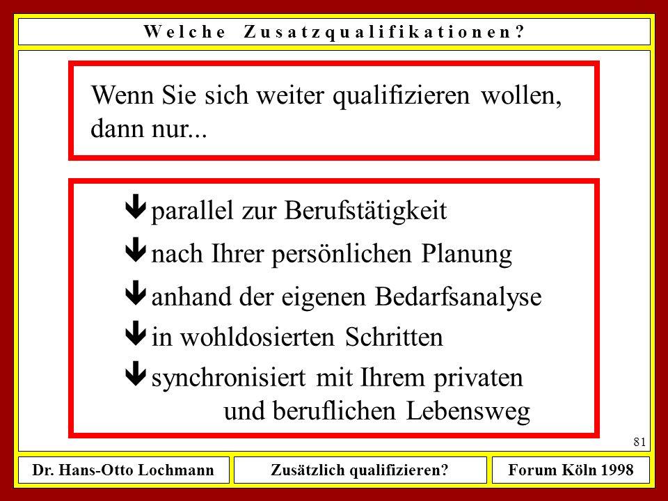 Dr. Hans-Otto LochmannZusätzlich qualifizieren?Forum Köln 1998 80 Sie sollten verstehen lernen, was Dienstleistung ist dienen & leisten Als Dienstleis