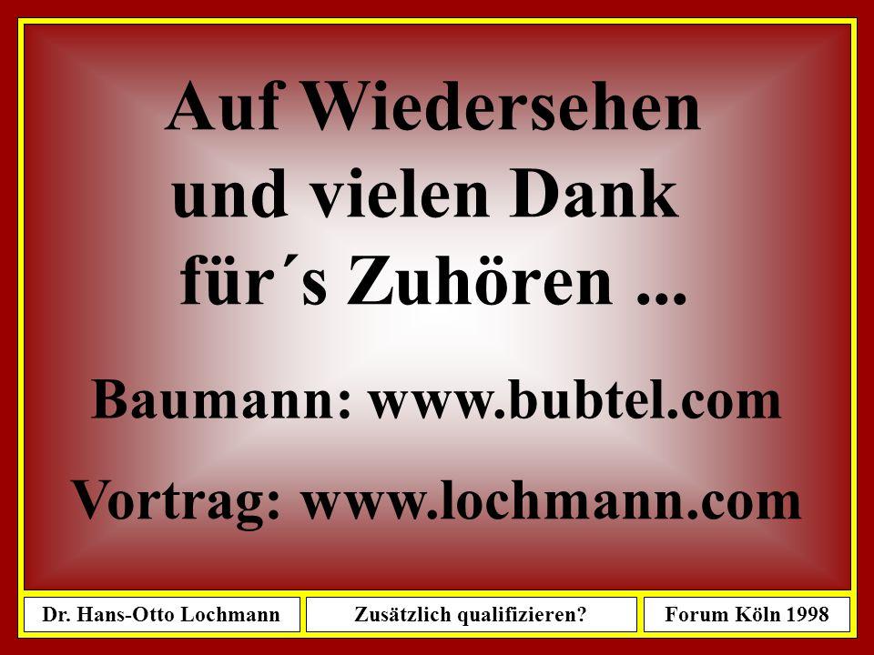 Dr. Hans-Otto LochmannZusätzlich qualifizieren?Forum Köln 1998 82 Das war´s...