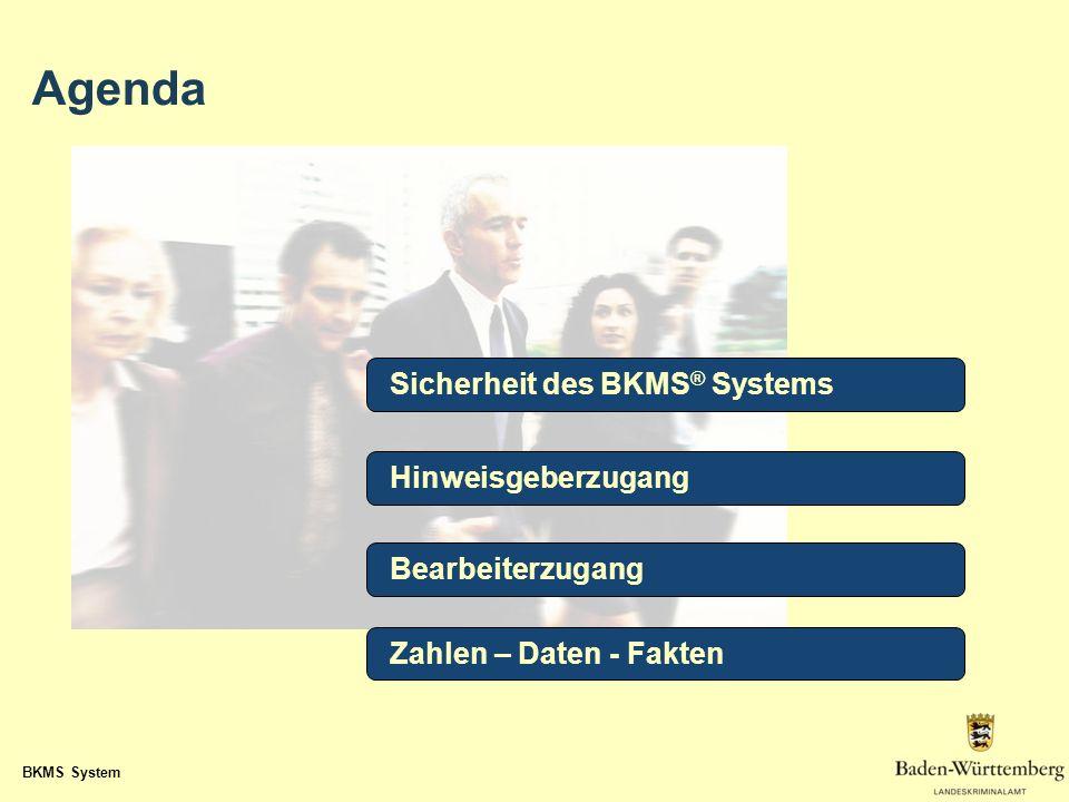 BKMS System Sicherheit des BKMS ® Systems Hinweisgeberzugang Bearbeiterzugang Zahlen – Daten - Fakten Agenda