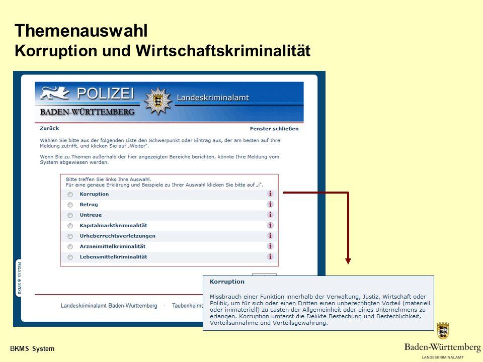 BKMS System Themenauswahl Korruption und Wirtschaftskriminalität