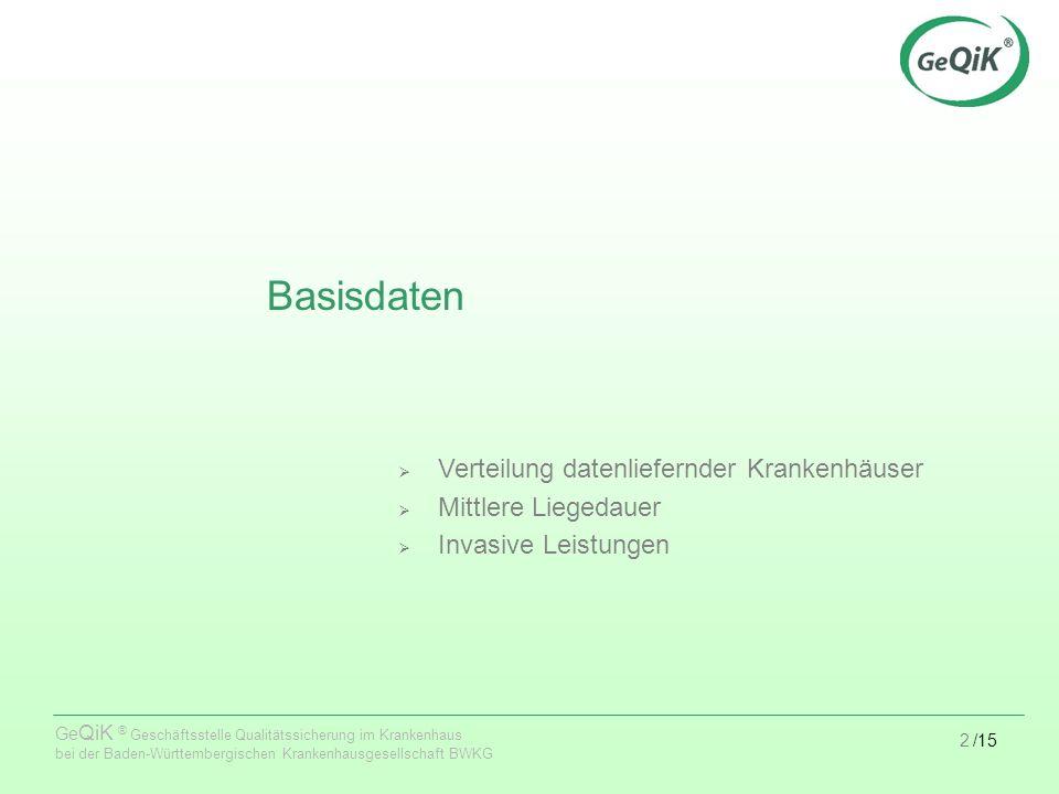 2/15 Ge QiK ® Geschäftsstelle Qualitätssicherung im Krankenhaus bei der Baden-Württembergischen Krankenhausgesellschaft BWKG Basisdaten Verteilung datenliefernder Krankenhäuser Mittlere Liegedauer Invasive Leistungen