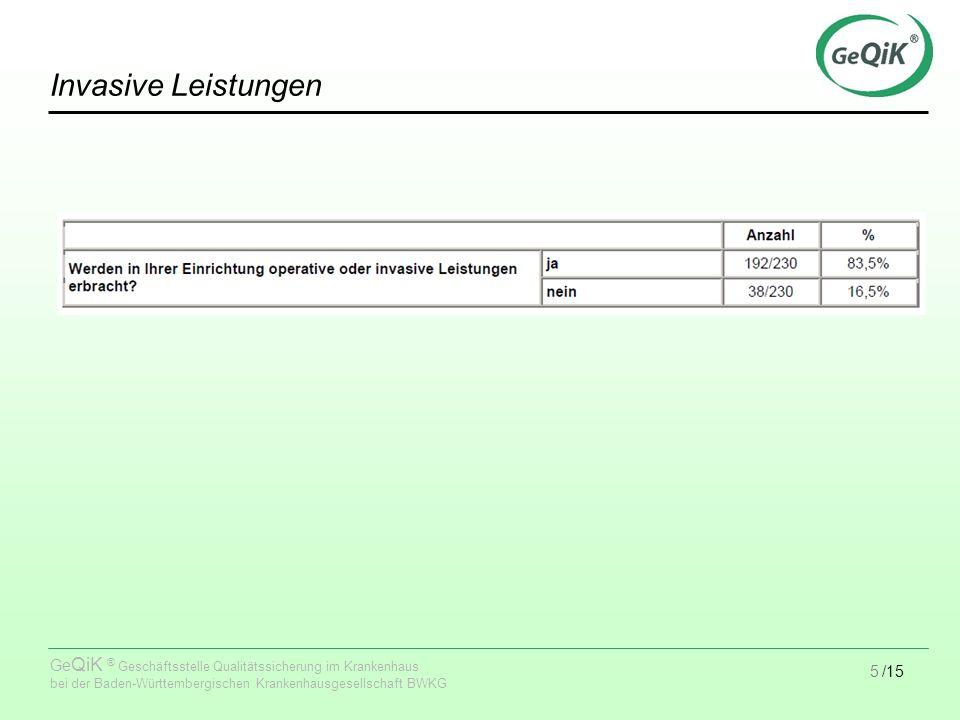 5/15 Ge QiK ® Geschäftsstelle Qualitätssicherung im Krankenhaus bei der Baden-Württembergischen Krankenhausgesellschaft BWKG Invasive Leistungen