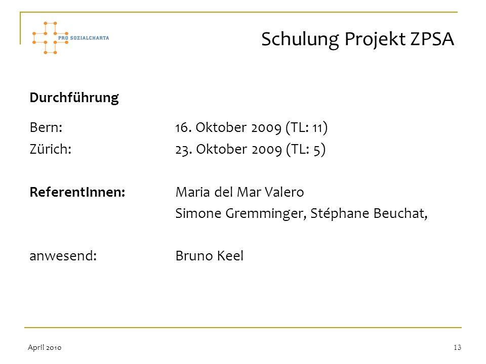13 Durchführung Bern: 16. Oktober 2009 (TL: 11) Zürich:23. Oktober 2009 (TL: 5) ReferentInnen: Maria del Mar Valero Simone Gremminger, Stéphane Beucha