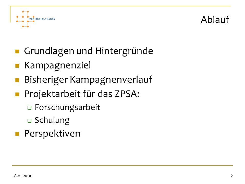 2 Grundlagen und Hintergründe Kampagnenziel Bisheriger Kampagnenverlauf Projektarbeit für das ZPSA: Forschungsarbeit Schulung Perspektiven Ablauf Apri