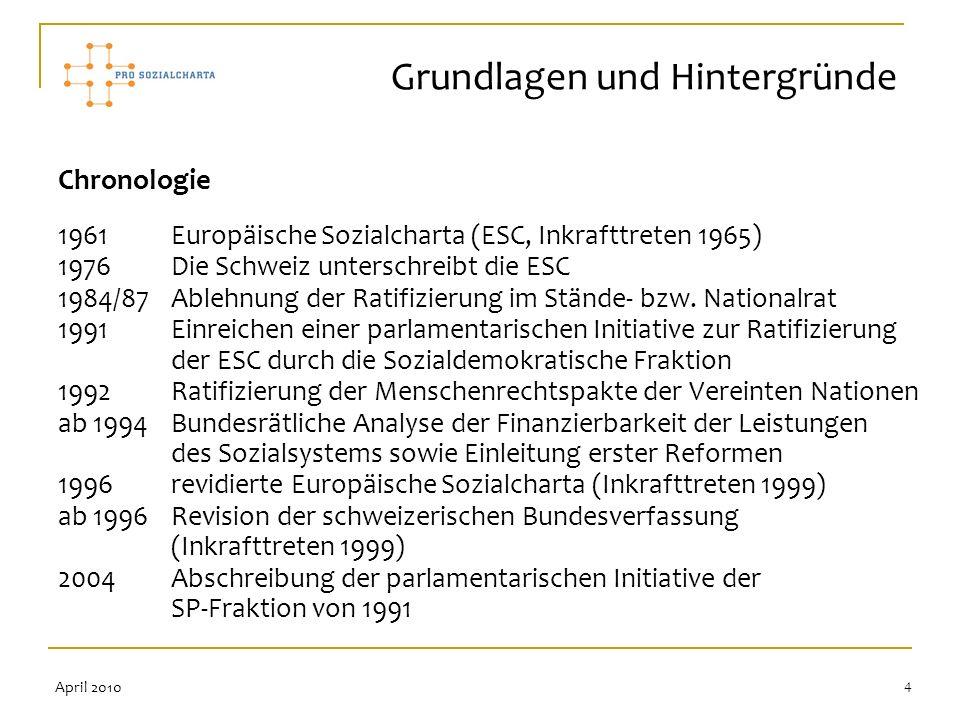 4 Chronologie 1961 Europäische Sozialcharta (ESC, Inkrafttreten 1965) 1976 Die Schweiz unterschreibt die ESC 1984/87 Ablehnung der Ratifizierung im St