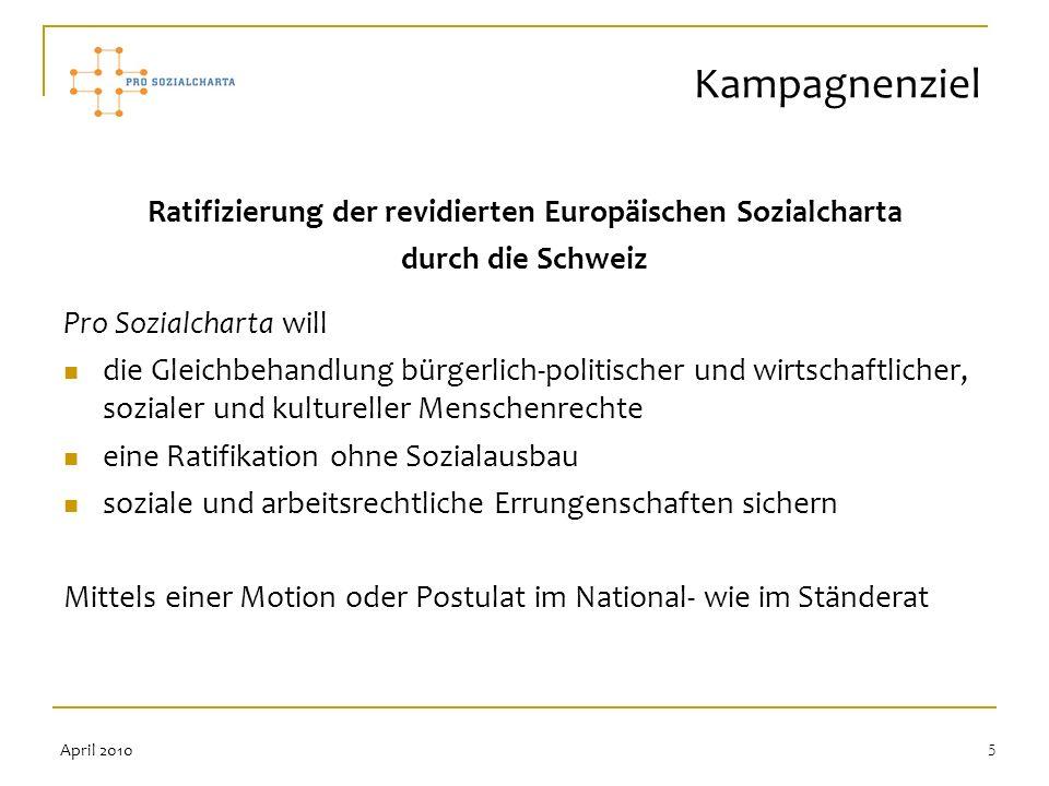 5 Ratifizierung der revidierten Europäischen Sozialcharta durch die Schweiz Pro Sozialcharta will die Gleichbehandlung bürgerlich-politischer und wirt