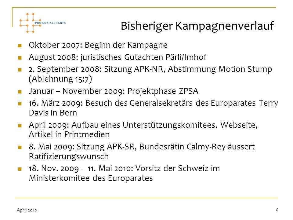 6 Oktober 2007: Beginn der Kampagne August 2008: juristisches Gutachten Pärli/Imhof 2. September 2008: Sitzung APK-NR, Abstimmung Motion Stump (Ablehn