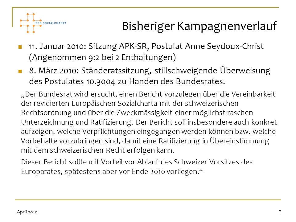 7 11. Januar 2010: Sitzung APK-SR, Postulat Anne Seydoux-Christ (Angenommen 9:2 bei 2 Enthaltungen) 8. März 2010: Ständeratssitzung, stillschweigende