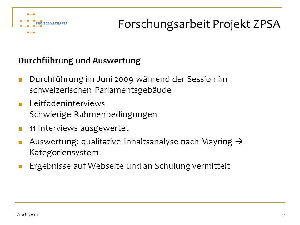 9 Durchführung und Auswertung Durchführung im Juni 2009 während der Session im schweizerischen Parlamentsgebäude Leitfadeninterviews Schwierige Rahmen