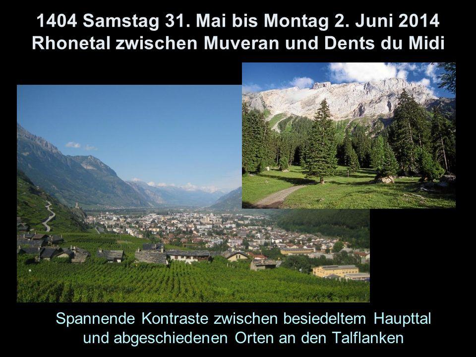 1404 Samstag 31. Mai bis Montag 2. Juni 2014 Rhonetal zwischen Muveran und Dents du Midi Spannende Kontraste zwischen besiedeltem Haupttal und abgesch