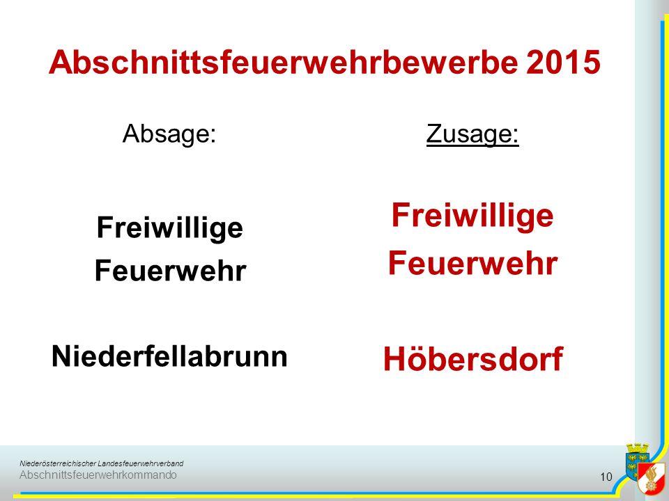 Niederösterreichischer Landesfeuerwehrverband Abschnittsfeuerwehrkommando Abschnittsfeuerwehrbewerbe 2015 Absage: Freiwillige Feuerwehr Niederfellabrunn Zusage: Freiwillige Feuerwehr Höbersdorf 10