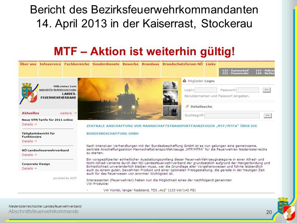 Niederösterreichischer Landesfeuerwehrverband Abschnittsfeuerwehrkommando Bericht des Bezirksfeuerwehrkommandanten 14.