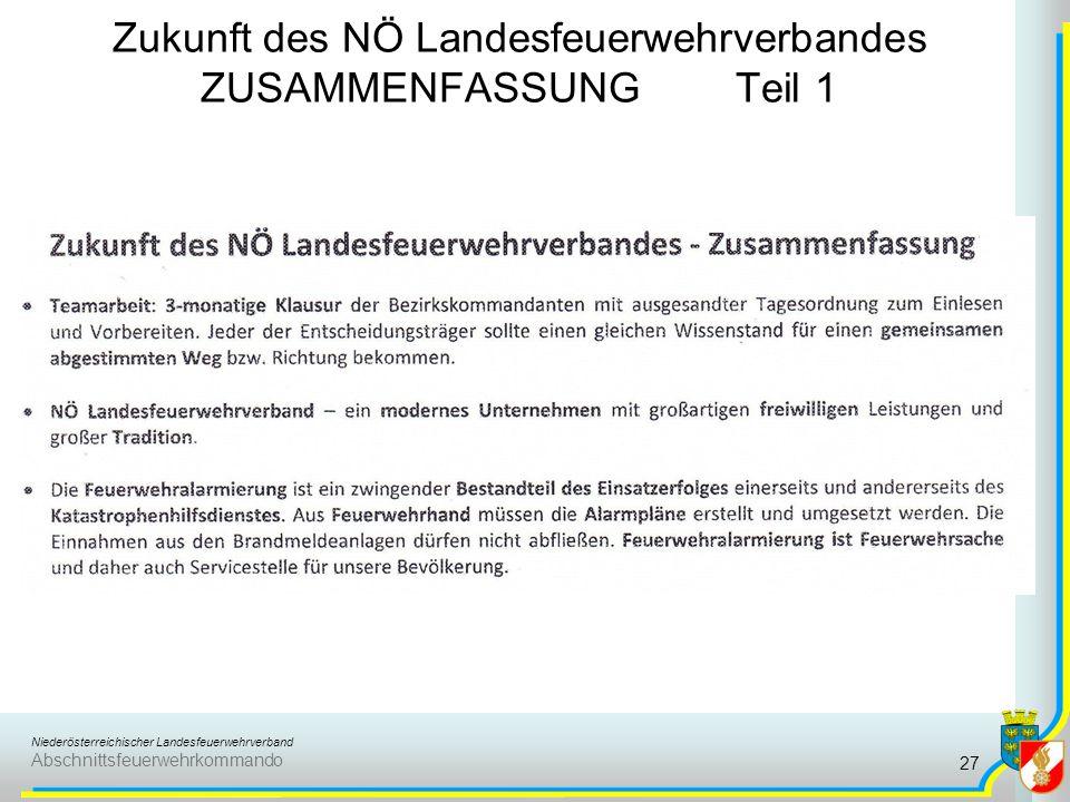 Niederösterreichischer Landesfeuerwehrverband Abschnittsfeuerwehrkommando Zukunft des NÖ Landesfeuerwehrverbandes ZUSAMMENFASSUNG Teil 1 27