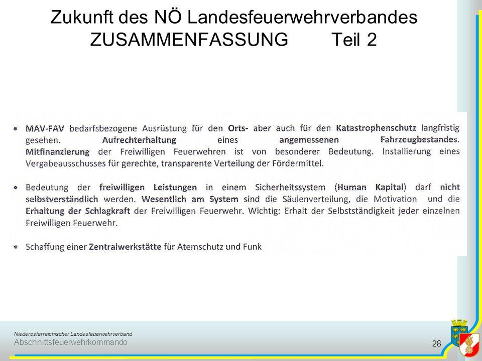 Niederösterreichischer Landesfeuerwehrverband Abschnittsfeuerwehrkommando Zukunft des NÖ Landesfeuerwehrverbandes ZUSAMMENFASSUNG Teil 3 29