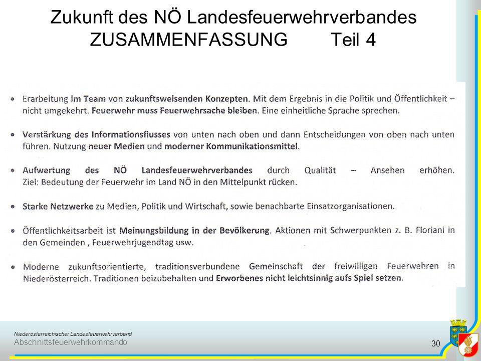 Niederösterreichischer Landesfeuerwehrverband Abschnittsfeuerwehrkommando Zukunft des NÖ Landesfeuerwehrverbandes ZUSAMMENFASSUNG Teil 4 30