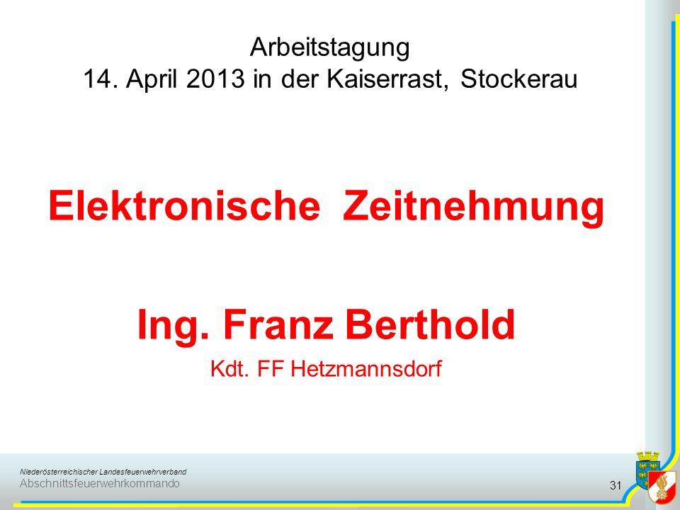 Niederösterreichischer Landesfeuerwehrverband Abschnittsfeuerwehrkommando Elektronische Zeitnehmung für Wettkampfgruppen