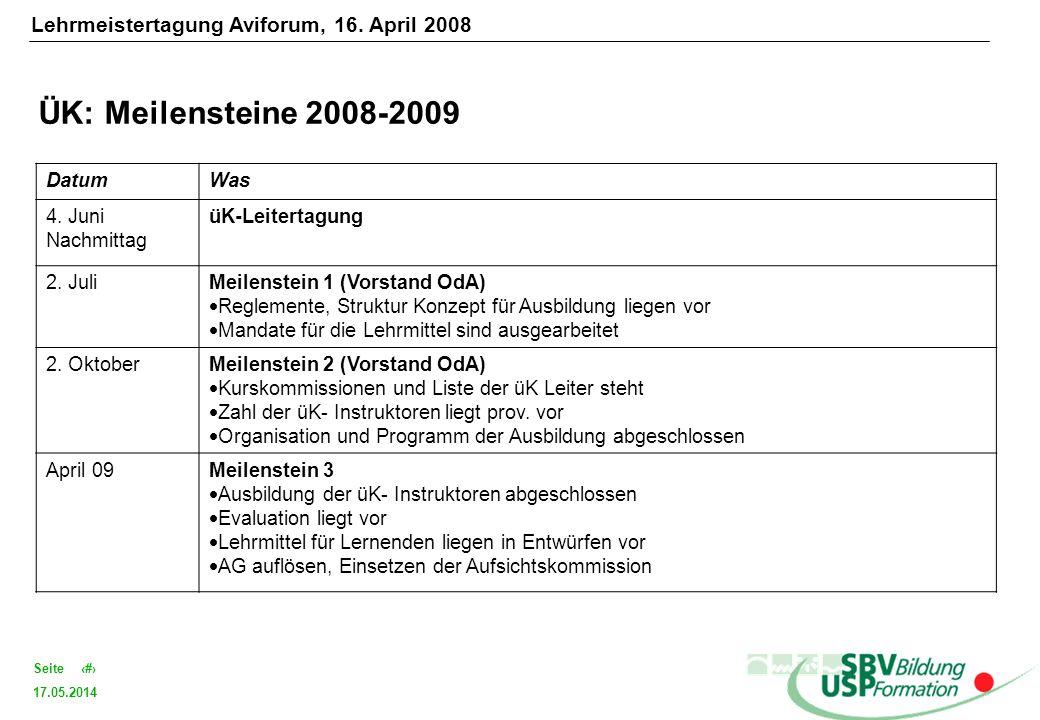 17.05.2014 19Seite ÜK: Meilensteine 2008-2009 DatumWas 4. Juni Nachmittag üK-Leitertagung 2. JuliMeilenstein 1 (Vorstand OdA) Reglemente, Struktur Kon