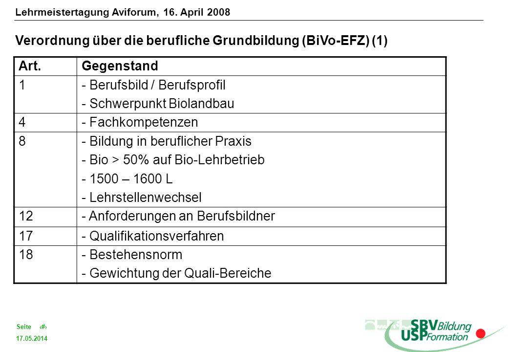 17.05.2014 7Seite Verordnung über die berufliche Grundbildung (BiVo-EFZ) (1) Art.Gegenstand 1- Berufsbild / Berufsprofil - Schwerpunkt Biolandbau 4- F