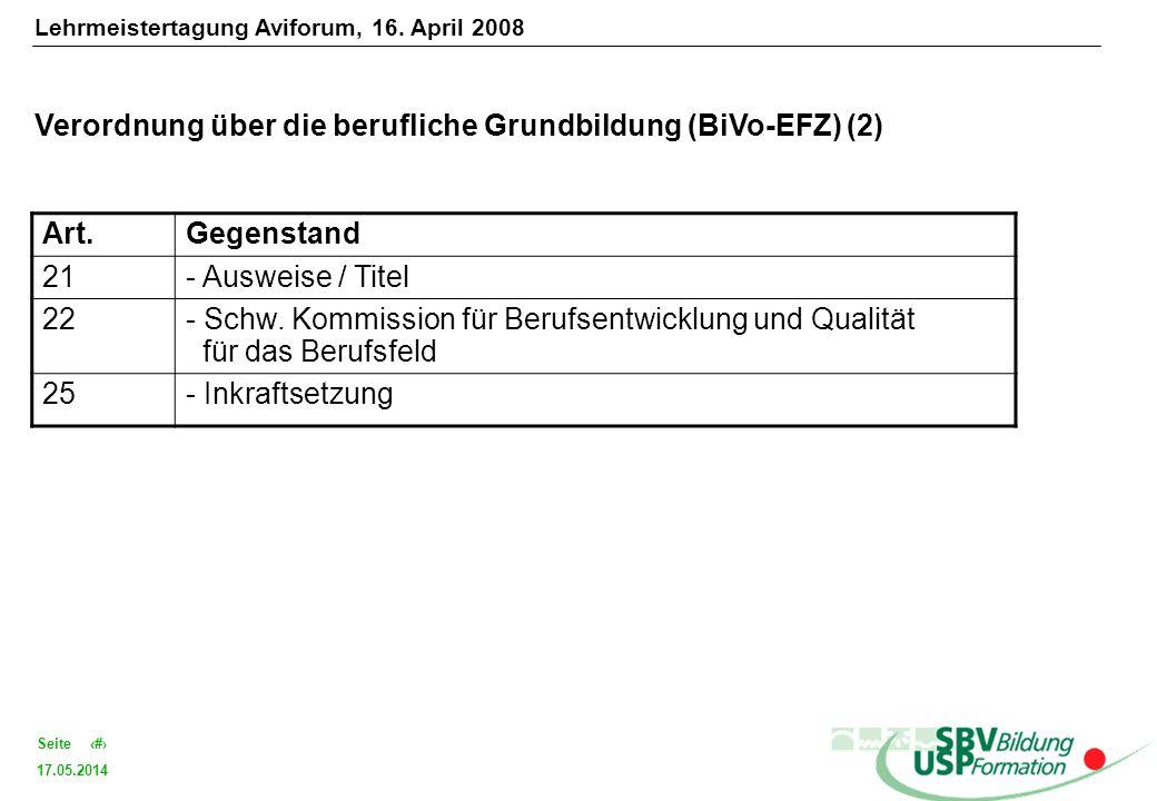 17.05.2014 8Seite Verordnung über die berufliche Grundbildung (BiVo-EFZ) (2) Art.Gegenstand 21- Ausweise / Titel 22- Schw. Kommission für Berufsentwic