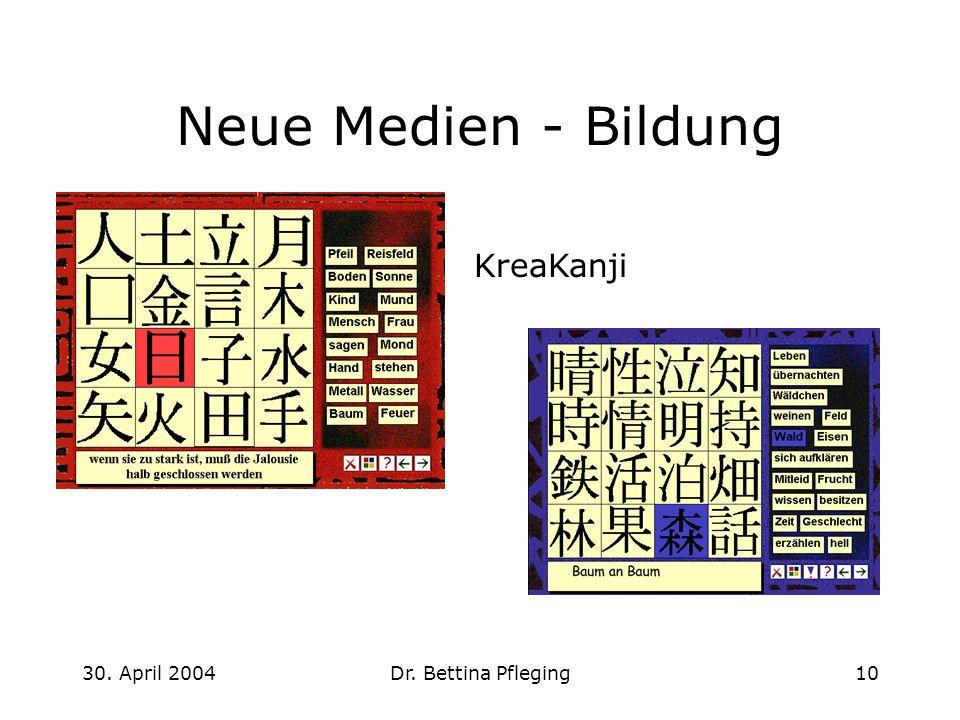 30. April 2004Dr. Bettina Pfleging10 Neue Medien - Bildung KreaKanji