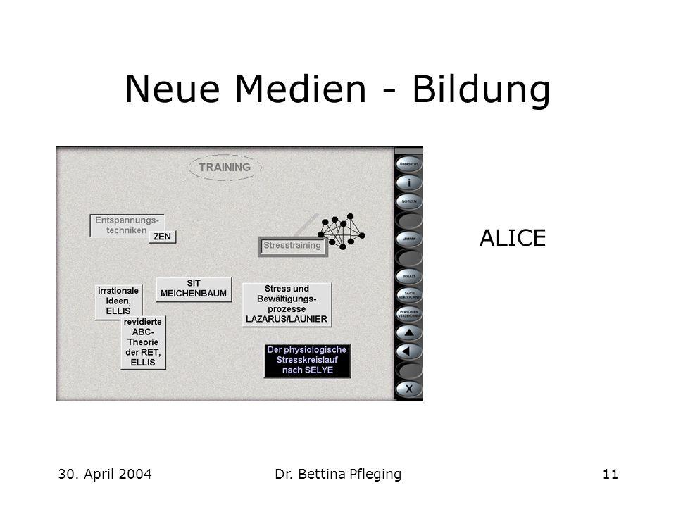 30. April 2004Dr. Bettina Pfleging11 Neue Medien - Bildung ALICE