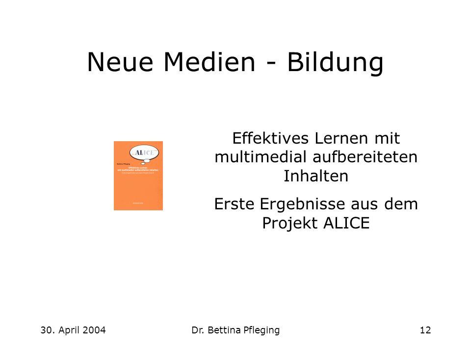 30. April 2004Dr. Bettina Pfleging12 Neue Medien - Bildung Effektives Lernen mit multimedial aufbereiteten Inhalten Erste Ergebnisse aus dem Projekt A