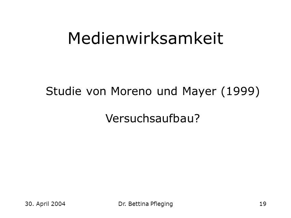 30. April 2004Dr. Bettina Pfleging19 Medienwirksamkeit Studie von Moreno und Mayer (1999) Versuchsaufbau?