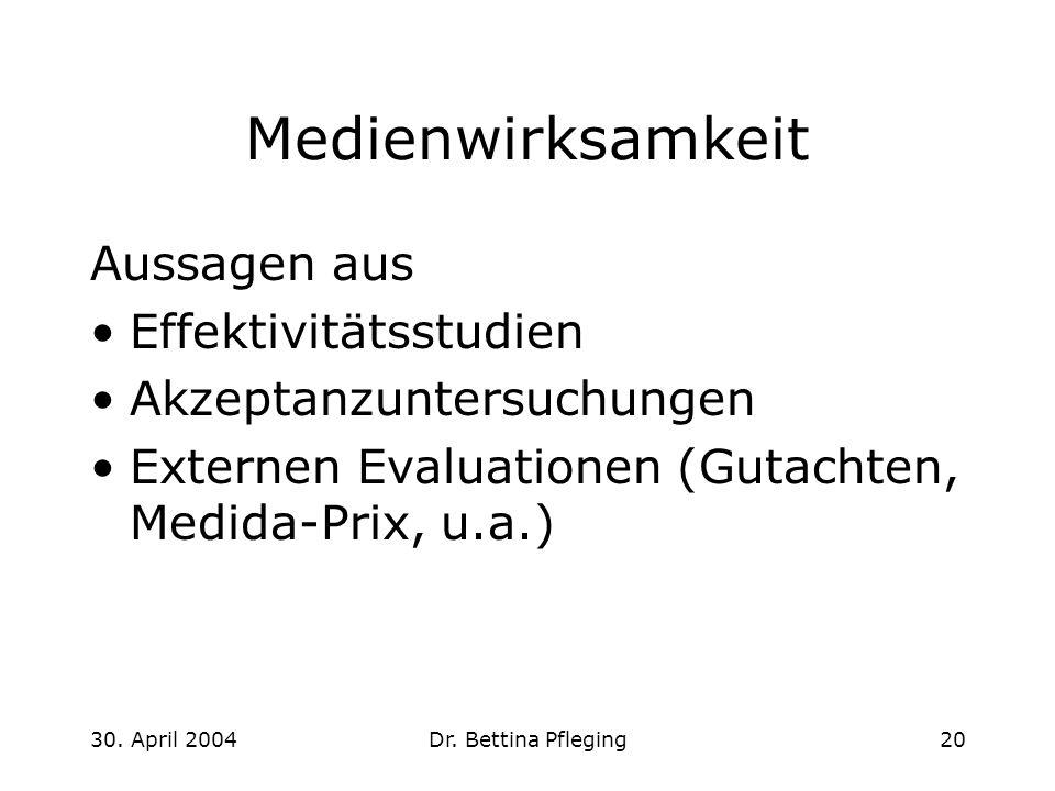 30. April 2004Dr. Bettina Pfleging20 Medienwirksamkeit Aussagen aus Effektivitätsstudien Akzeptanzuntersuchungen Externen Evaluationen (Gutachten, Med