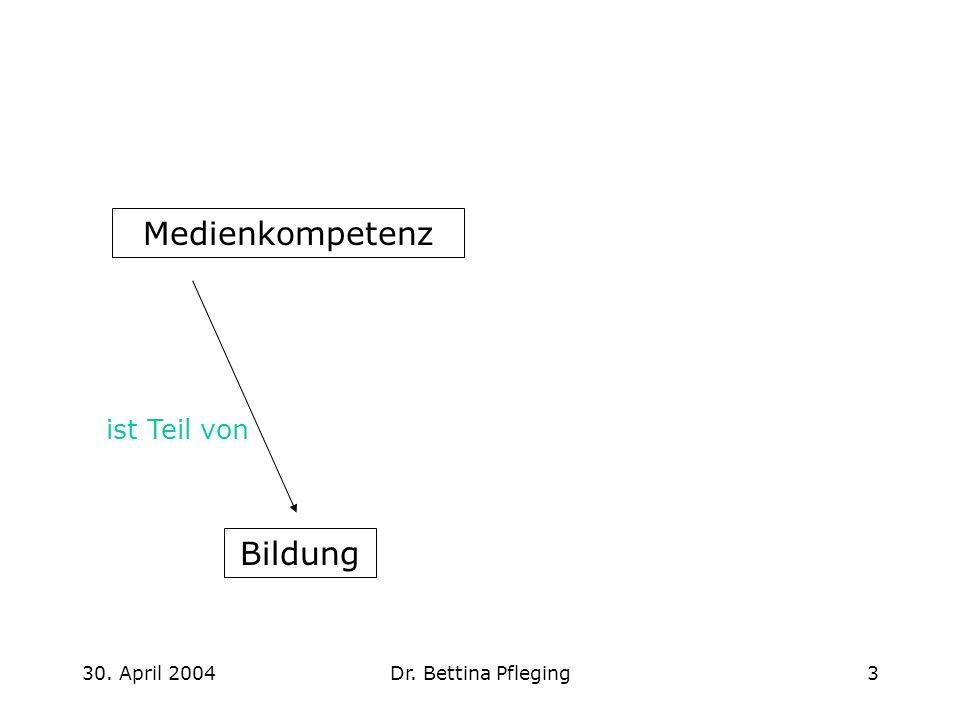 30.April 2004Dr. Bettina Pfleging4 Medienkompetenz - Bildung...