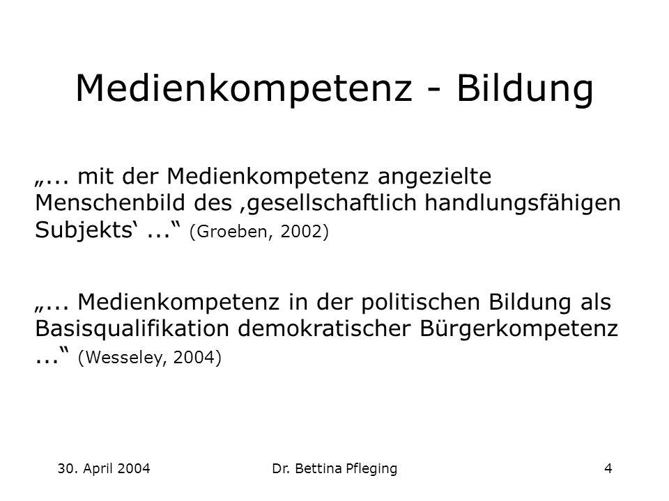 30. April 2004Dr. Bettina Pfleging4 Medienkompetenz - Bildung... Medienkompetenz in der politischen Bildung als Basisqualifikation demokratischer Bürg
