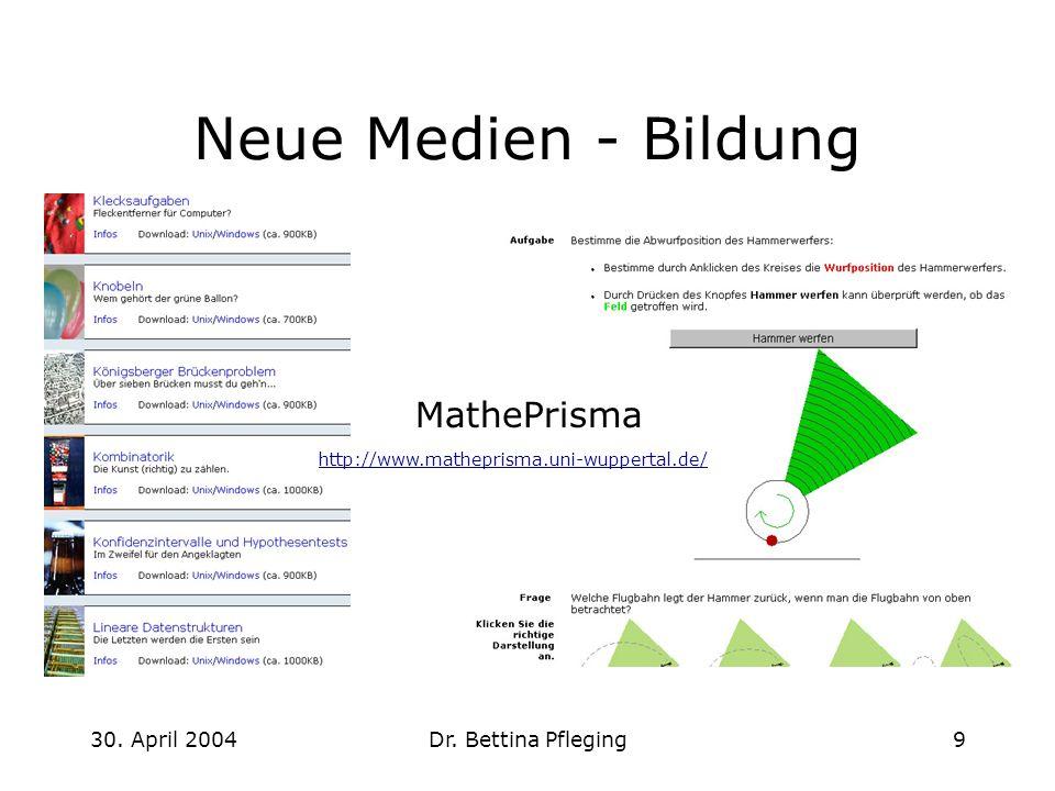 30. April 2004Dr. Bettina Pfleging9 Neue Medien - Bildung http://www.matheprisma.uni-wuppertal.de/ MathePrisma