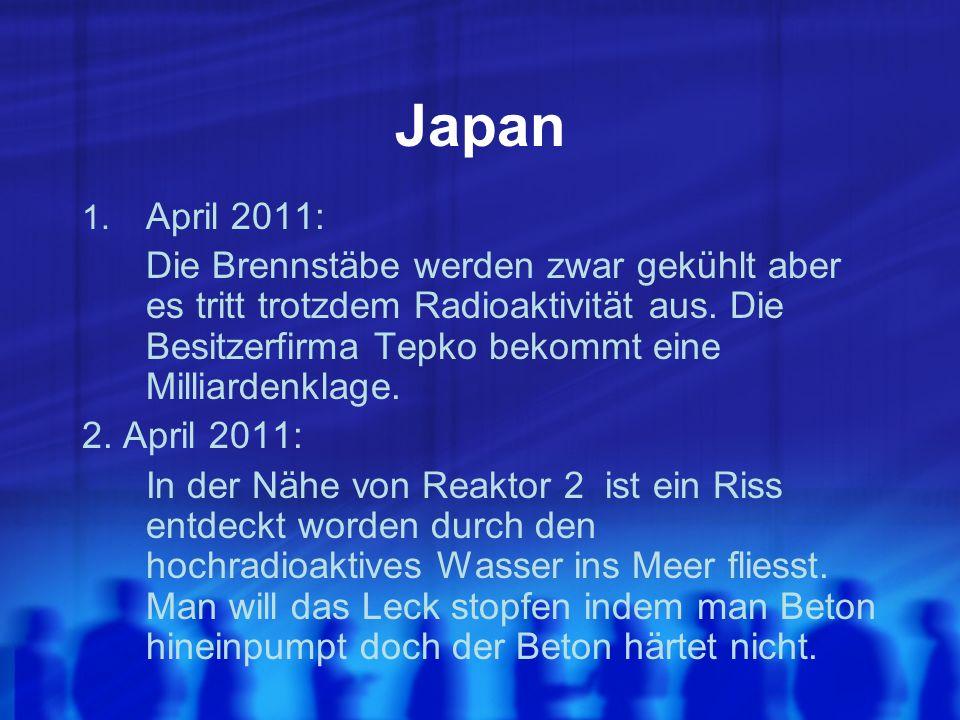 Japan 1. April 2011: Die Brennstäbe werden zwar gekühlt aber es tritt trotzdem Radioaktivität aus.