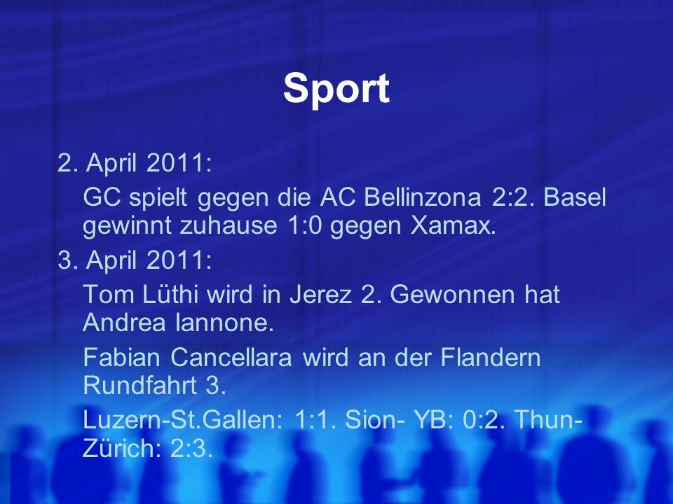 Sport 2. April 2011: GC spielt gegen die AC Bellinzona 2:2.