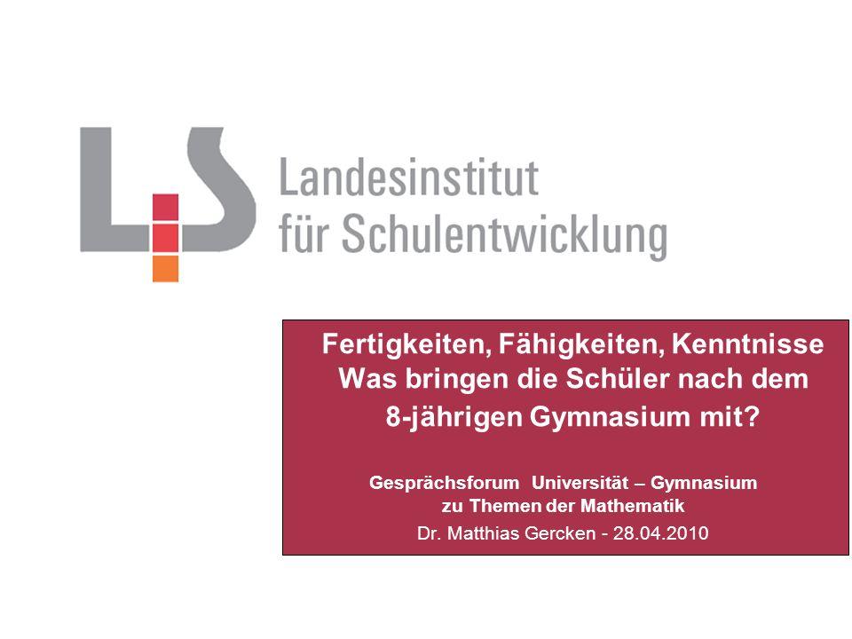 Gesprächsforum Universität – Gymnasium zu Themen der Mathematik Dr.