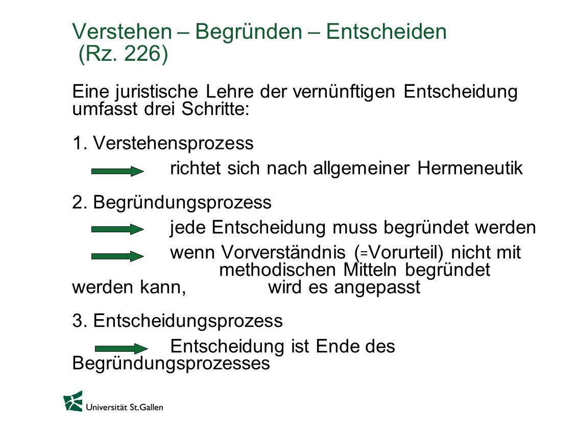 Verstehen – Begründen – Entscheiden (Rz. 226) Eine juristische Lehre der vernünftigen Entscheidung umfasst drei Schritte: 1. Verstehensprozess richtet