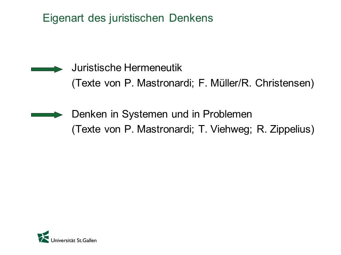 Eigenart des juristischen Denkens Juristische Hermeneutik (Texte von P. Mastronardi; F. Müller/R. Christensen) Denken in Systemen und in Problemen (Te