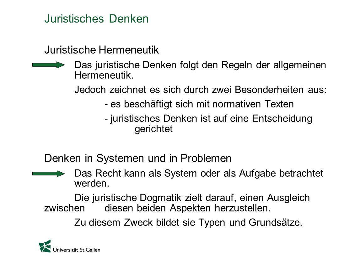 Juristisches Denken Juristische Hermeneutik Das juristische Denken folgt den Regeln der allgemeinen Hermeneutik.