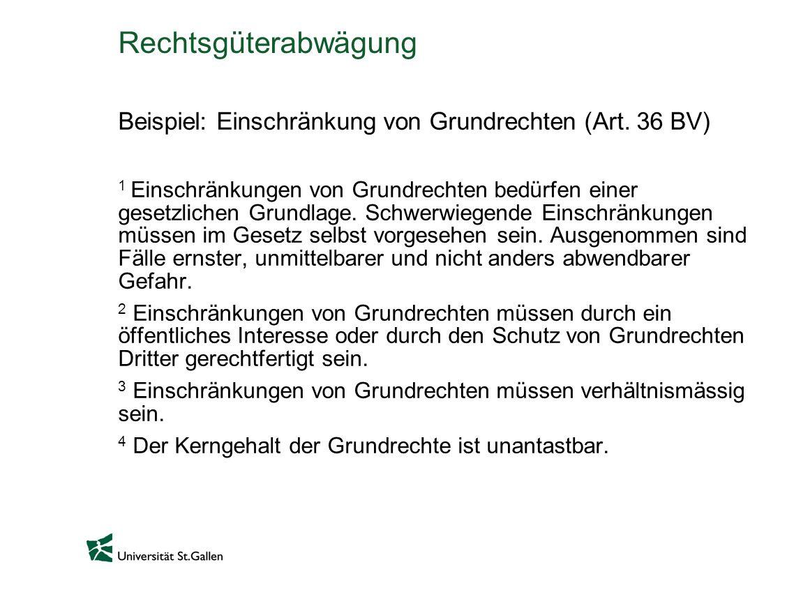 Rechtsgüterabwägung Beispiel: Einschränkung von Grundrechten (Art.