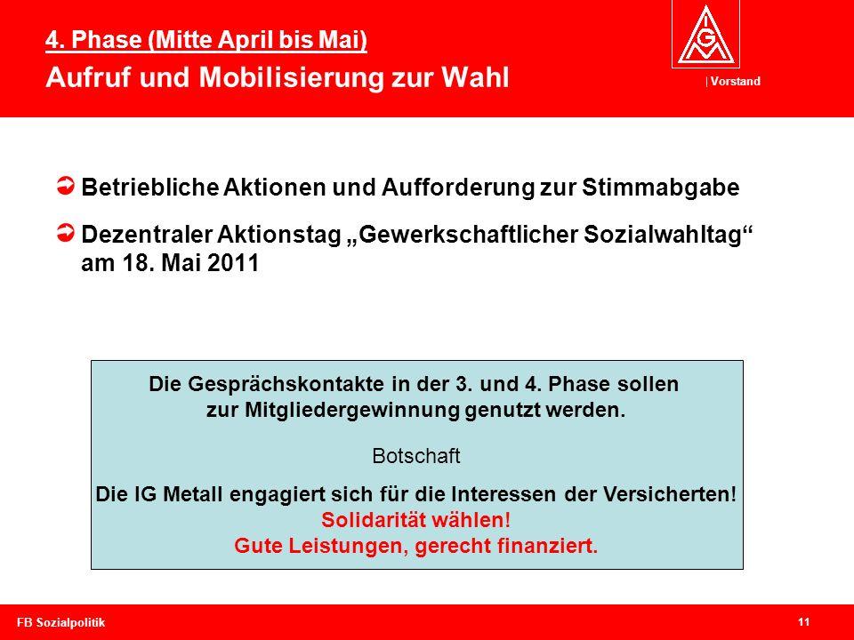 Vorstand 11 FB Sozialpolitik Betriebliche Aktionen und Aufforderung zur Stimmabgabe Dezentraler Aktionstag Gewerkschaftlicher Sozialwahltag am 18. Mai