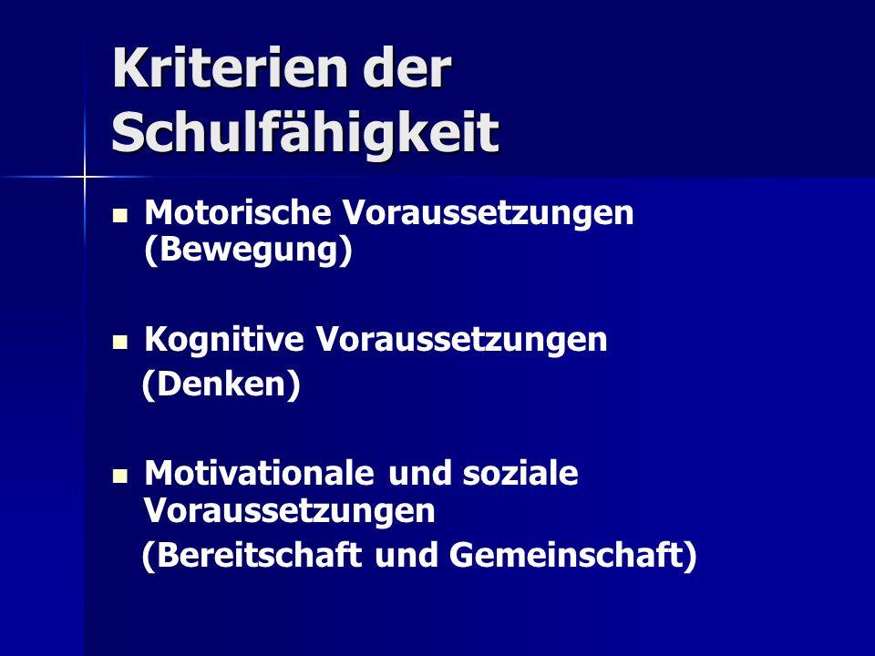 Kriterien der Schulfähigkeit Motorische Voraussetzungen (Bewegung) Kognitive Voraussetzungen (Denken) Motivationale und soziale Voraussetzungen (Berei